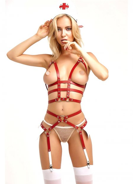 Deri Hemşire Kostüm Harness Takım | 0545 356 96 07