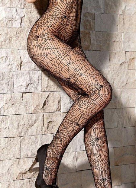 Örümcek Ağı Desenli Vücut Çorabı | 0545 356 96 07