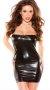 Siyah Deri Görünümlü Fantazi Elbise