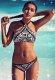 Siyah Beyaz Geometrik Basım Özel Tasarım Tankini Bikini