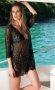 Siyah Dantel Görünümlü Şık Plaj Elbisesi
