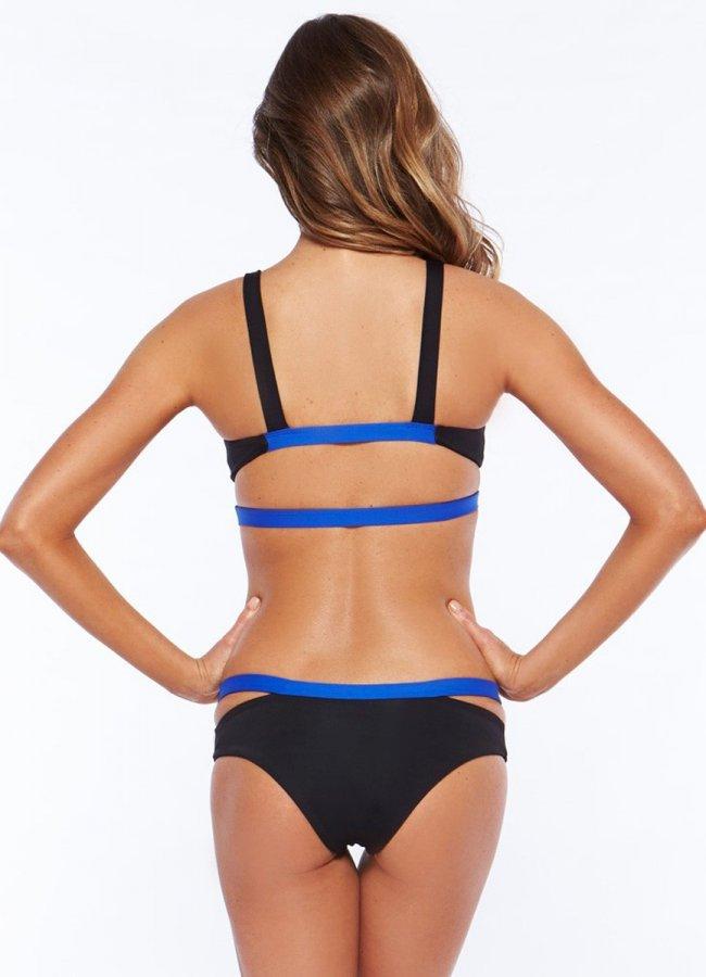 Mavi İşlemeli Siyah Şık Tasarım Bikini