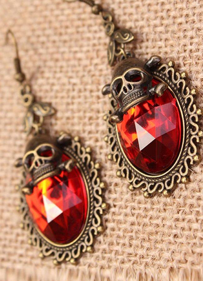 Kırmızı Taşlı İskelet Figürlü Küpe   0545 356 96 07