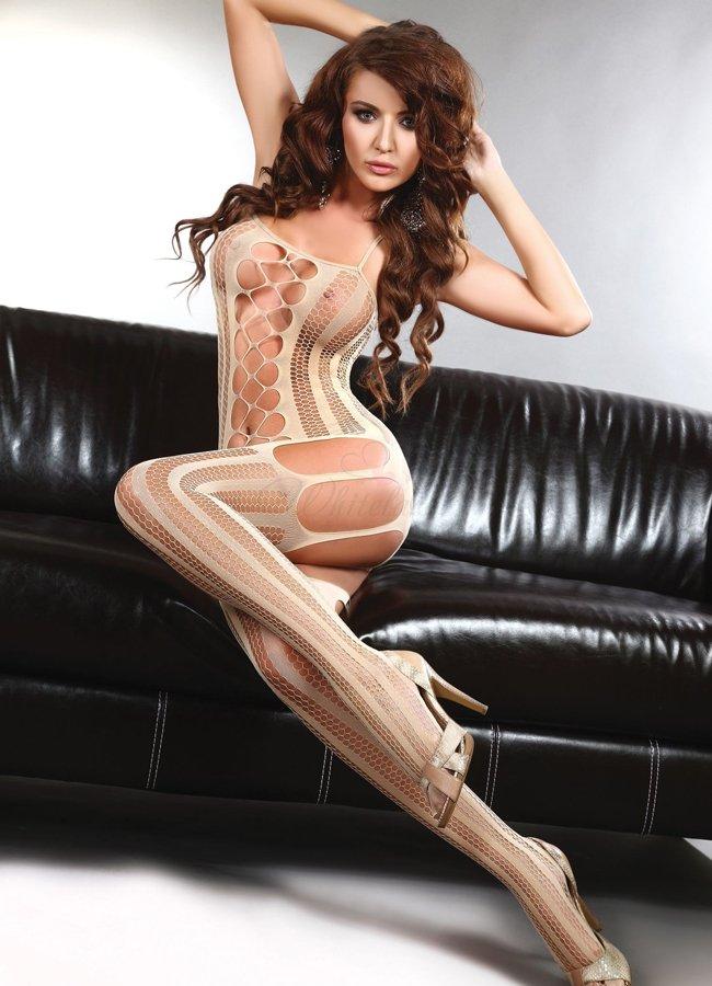 Seksi Tasarım Krem Rengi Fantazi Vücut Çorabı   0545 356 96 07