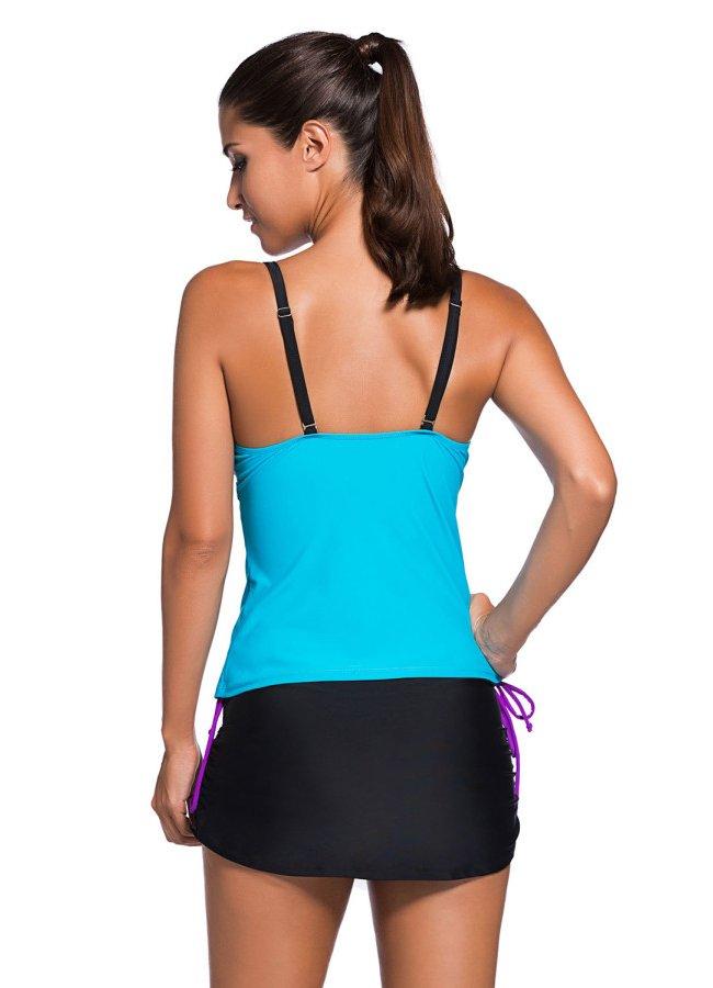 Şık Renkli Tankini Etekli Bikini Takım | 0545 356 96 07