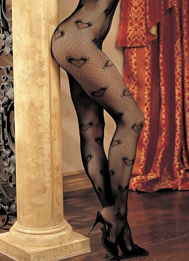 Kalp Desenli Vücut Çorabı