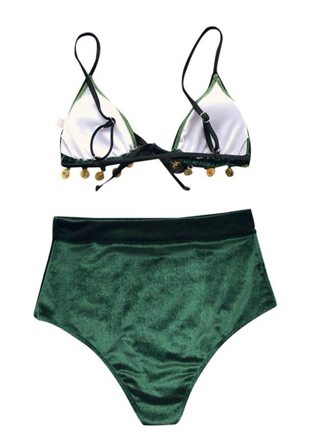 Angelsin Kadife Yeşil Bikini Takım