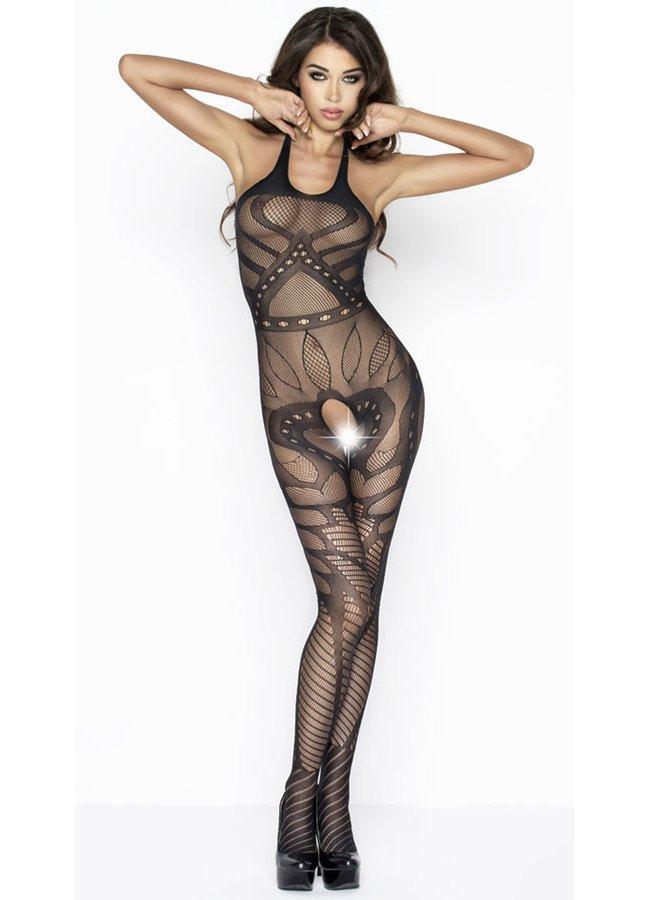 Desenli Özel Bölgesi Açık Sexy Siyah Vücut Çorabı