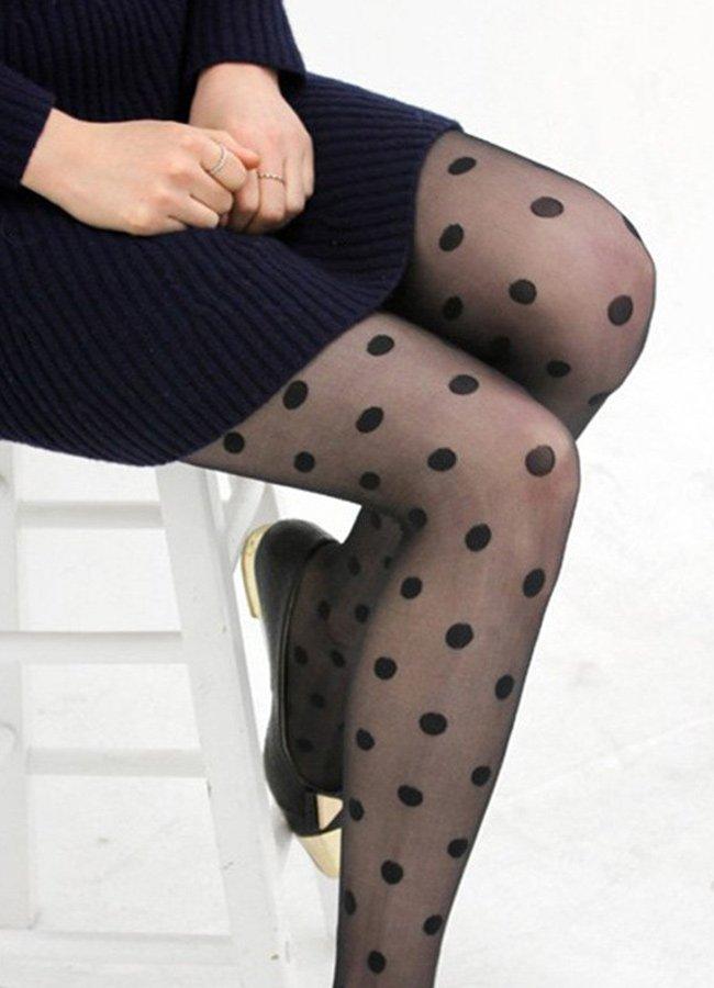 Puantiyeli Külotlu Çorap Siyah