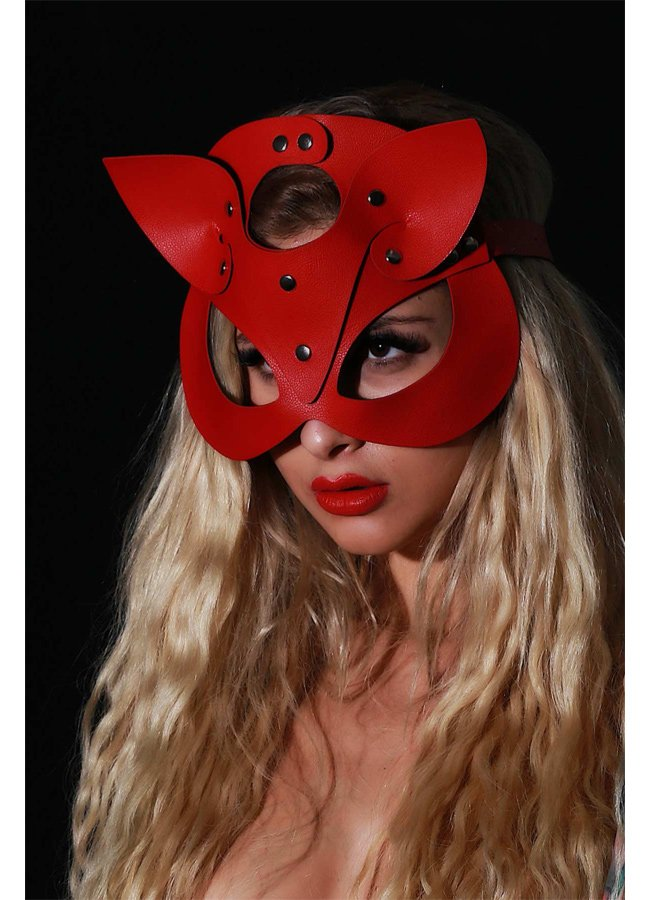Kırmızı Deri Fantazi Maske | 0545 356 96 07