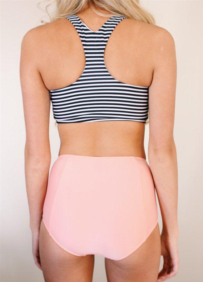 Altı Pembe Üstü Cizgili Yüksek Bel Tankini Bikini Takım