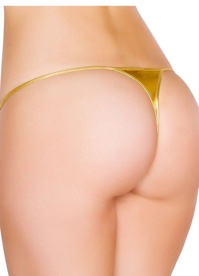 Gold Deri Görünümlü Tanga | 0545 356 96 07