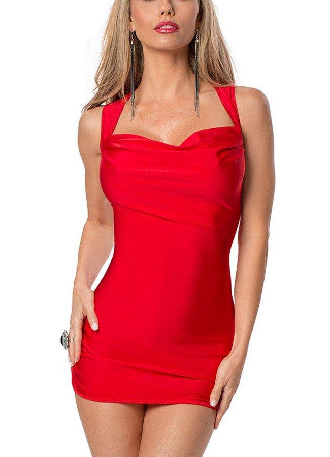 Kırmızı Sırt Dekolteli Süper Mini Elbise | 0545 356 96 07