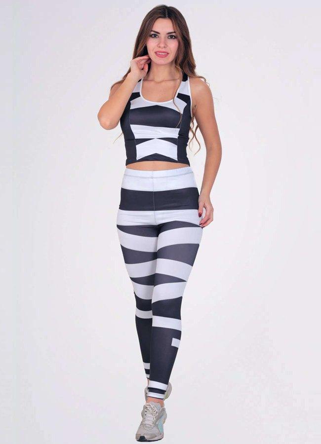 Kadın Fitness Takım Siyah Beyaz Tayt | 0545 356 96 07