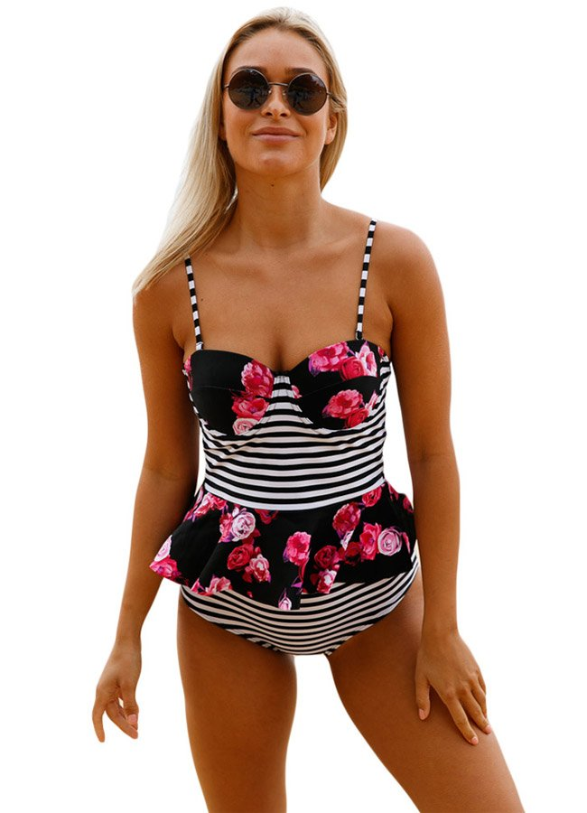 Yüksek Bel Etek Gürünümlü Destekli Bikini Takım | 0545 356 96 07