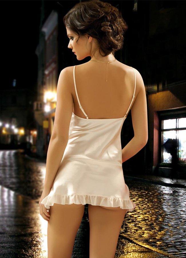 Saten Gecelik Ekru Fantazi Giyim | 0545 356 96 07