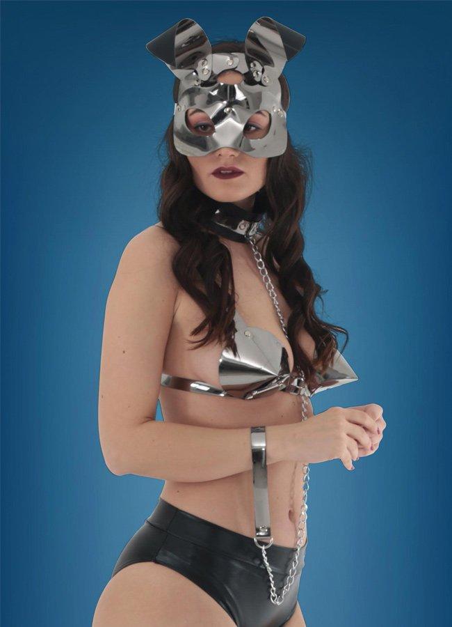 Deri Rabbit Maskeli Fantazi İç Giyim Set