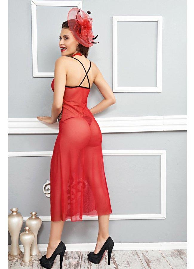 Fileli Uzun Gecelik Kırmızı Fantazi Giyim