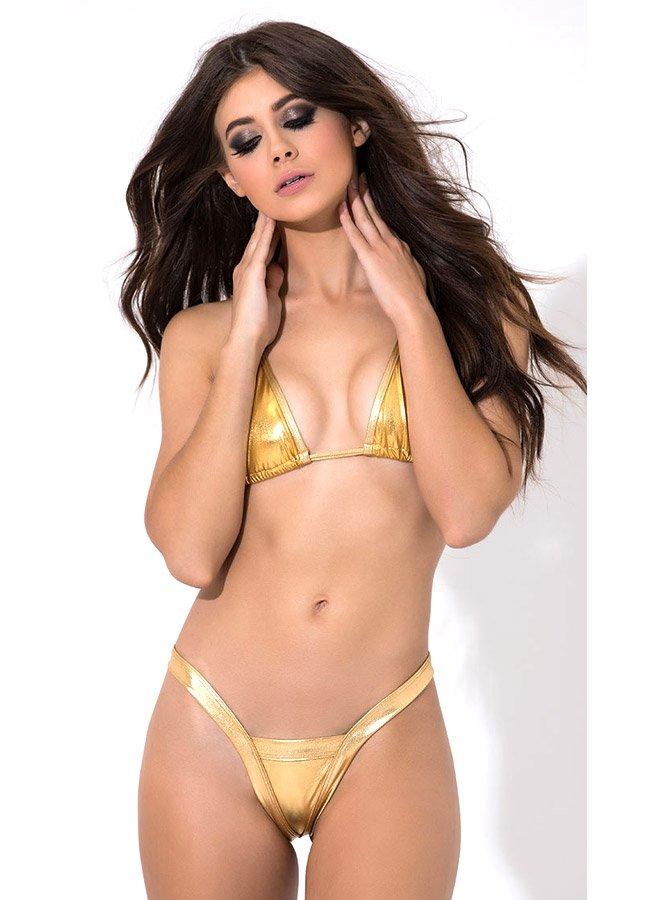 Fantazi Giyim Gold Sütyen Külot Takım | 0545 356 96 07