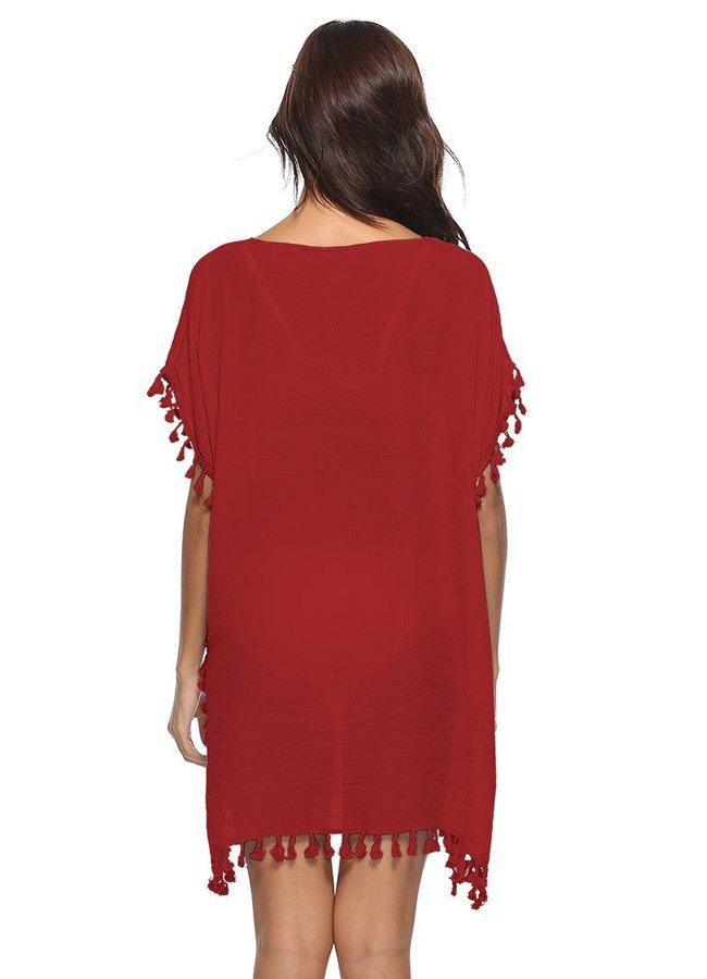 Nokta Shop Kırmızı Plaj Elbisesi Pareo | 0545 356 96 07
