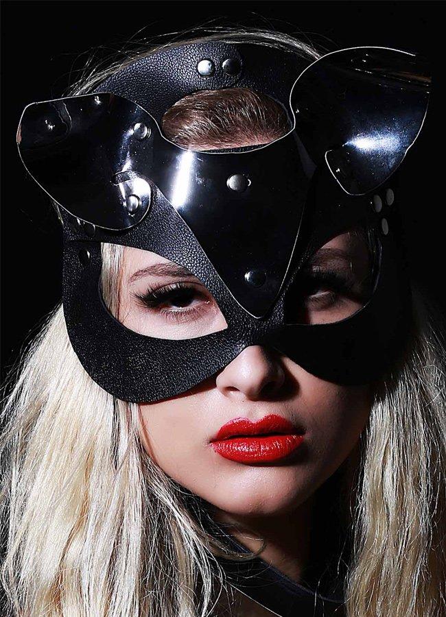 Nokta Shop Siyah Deri Kedi Kız Fantazi Maske | 0545 356 96 07