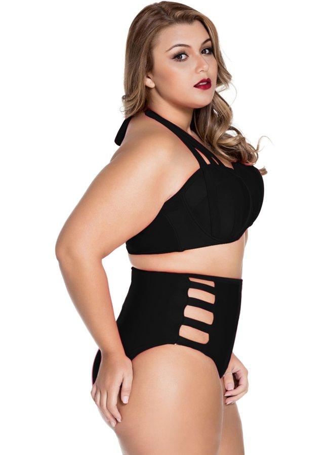 Siyah Yüksek Bel Büyük Beden Bikini | 0545 356 96 07