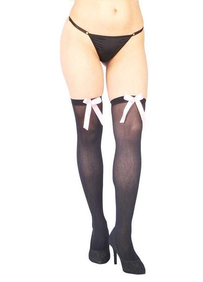 Pembe Kurdeleli Seksi Diz Üstü Çorap