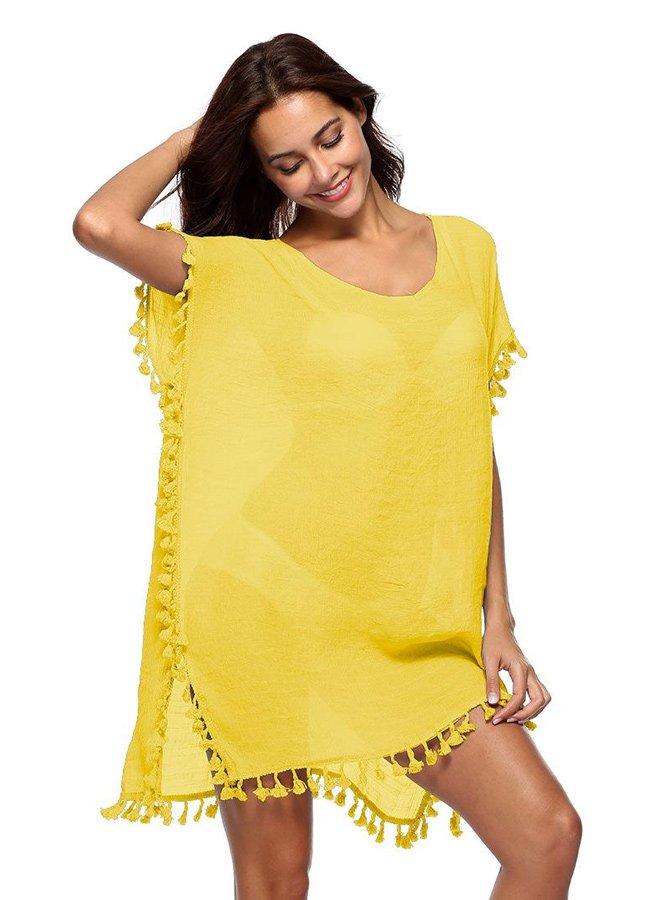 Nokta Shop Sarı Pareo Seksi Plaj Elbisesi | 0545 356 96 07