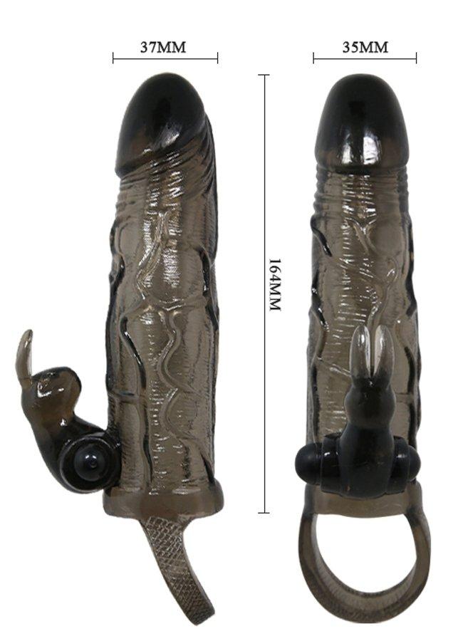Klitoris Uyarıcılı Siyah Penis Kılıfı | 0545 356 96 07