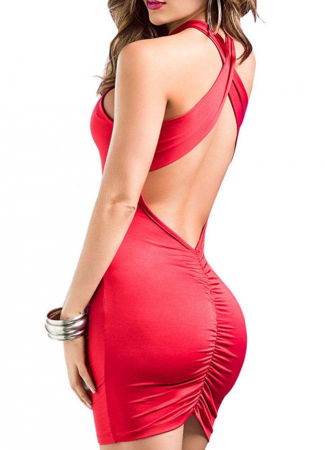 Sırt Dekolteli Mini Elbise Kırmızı   0545 356 96 07