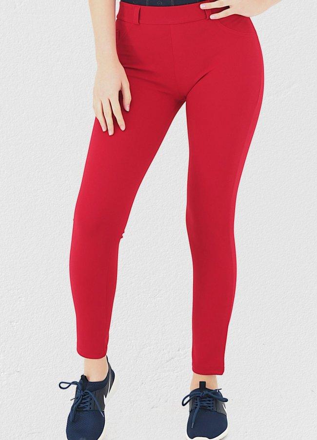 Cep Detaylı Kırmızı Pantolon Tayt
