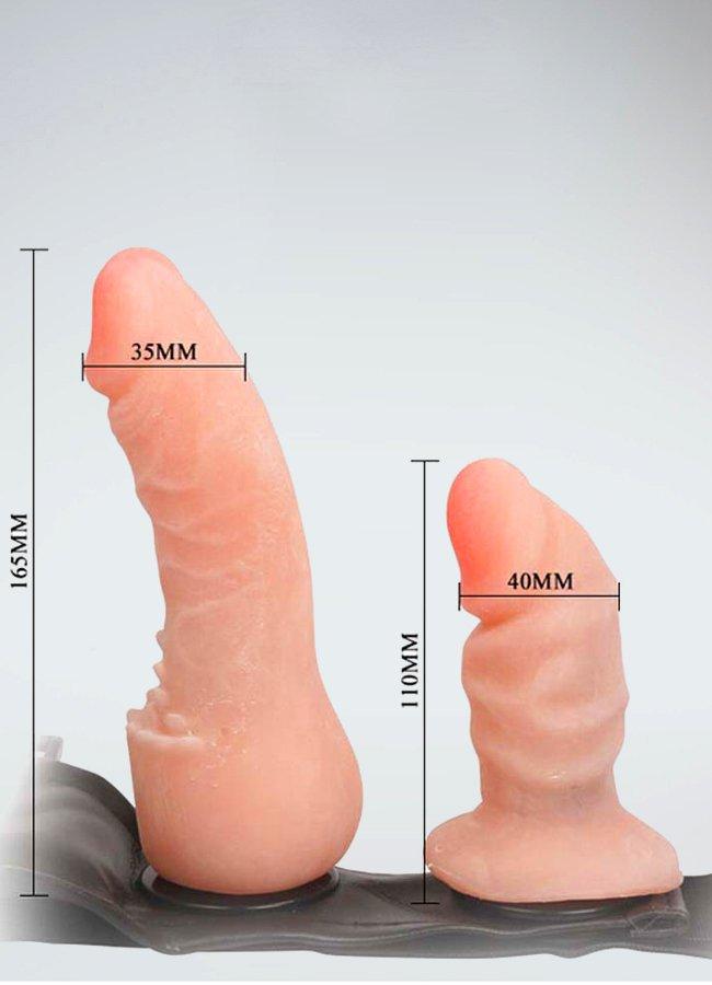 Harness Realistik Deri Kemerli Anal Vajinal Çift Penisli | 0545 356 96 07