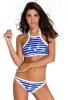 Mavili Beyazlı Şık Tankini Bikini