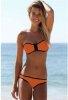 Turuncu Önden Fermuarlı Gösterişli Bikini