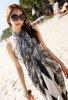 Siyah Beyaz Şık Uzun Elbise Pareo